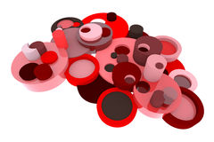 Red 3D circle elements element in abstract style. On white background Stock Images