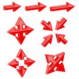 Red 3d combo arrows. Different directions. Vector illustration isolated on white background Royalty Free Stock Photo