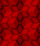 Red 3d cubes striped with net seamless pattern. Abstract 3d geometrical seamless background. Red 3d cubes striped with net Stock Photography