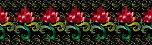 Red 3d flowers seamless border pattern. Vector floral black back. Ground wallpaper with red surface hand drawn flowers, green leaves, swirl lines. Vintage Vector Illustration