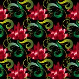 Red 3d flowers seamless pattern. Vector floral black background Royalty Free Stock Image