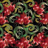 Red 3d flowers seamless pattern. Vector floral black background. Wallpaper with red surface hand drawn striped flowers, green leaves, swirl lines. Vintage royalty free illustration