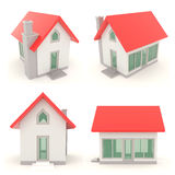 Red 3D house icons in different angle set 1 Stock Photography
