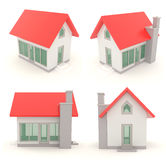 Red 3D house icons in different angle set 2 Royalty Free Stock Photography