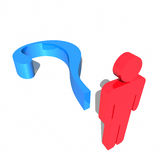 Red 3d humanoid having an idea. Blue question mark and human figure Royalty Free Stock Photography