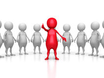 Red 3d Leader Of Large Team Group. Leadership Teamwork Concept Royalty Free Stock Image