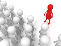 Red 3d leader of a team stand out of crowd. 3d Royalty Free Stock Photo