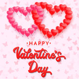 Red 3d lettering Happy Valentines day. Balloons. Royalty Free Stock Photography