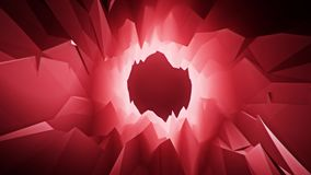 Red 3D Low Poly Crystal Cave Tunnel Loopable Motion Background. Backdrop stock video footage