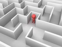 3D Man Lost inside a Maze. Red 3d man inside a large maze royalty free illustration