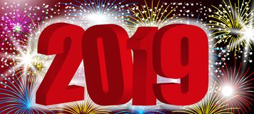 Red 3D numbers 2019 New Year. Design background with sparkling colorful fireworks, holiday greeting. Vector. Illustration vector illustration