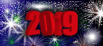 Red 3D numbers 2019 New Year. Design background with sparkling colorful fireworks, holiday greeting. Vector. Illustration royalty free illustration