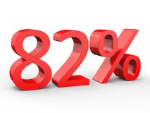 82 percent discount. Red 3d numbers on isolated white background. Red 3d numbers percentage discount on isolated white background 3d Illustration Royalty Free Stock Photography
