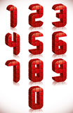 Red 3d numbers set made in digital style. Stock Photos