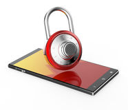 Red 3D pad lock on black smartphone. Illustration of Red 3D pad lock on black smartphone royalty free illustration