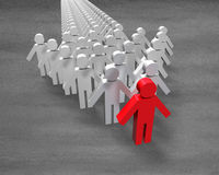 Red 3D people in first position of arrow. Shape group Stock Photography