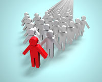 Red 3D people in first position of arrow. Unique red 3D people in first position of arrow Royalty Free Stock Images