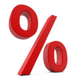 Red 3D percent sign. On white background Stock Photo