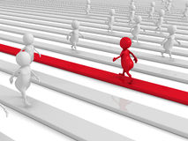 Red 3d Person Walking In Different New Way. 3d Render Illustration Royalty Free Stock Image