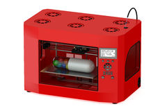 Red 3d printer with pill Royalty Free Stock Image