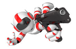 Red 3D robot jumping holding an automatic pistol. Create 3D Huma Royalty Free Stock Image
