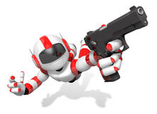 Red 3D robot jumping holding an automatic pistol. Create 3D Huma Royalty Free Stock Photos