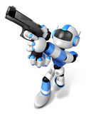 Red 3D robot jumping holding an automatic pistol. Create 3D Huma Royalty Free Stock Photo