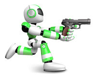 Red 3D robot jumping holding an automatic pistol. Create 3D Huma Royalty Free Stock Photography