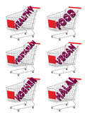 Red 3D Shopping Cart Healthy Food Stock Photography