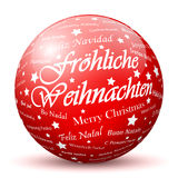 Red 3D Sphere with Mapped. Merry Christmas Texture and Smooth Shadow in German Language. Holiday Season - Christmas Greeting Card - Symbol, Decoration, Decor vector illustration