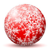 Red 3D Sphere with Mapped White Snowflake Texture. Red 3D Sphere with Mapped Snowflake Texture on White Background and Smooth Shadow. Holiday Season - Christmas stock illustration