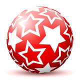 Red 3D Sphere with Mapped White Starlet Texture. Red 3D Sphere with Mapped White Star Texture on White Background and Smooth Shadow. Holiday Season - Christmas royalty free illustration