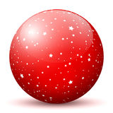 Red 3D Sphere with Mapped White Starlets Texture. On White Background and Smooth Shadow. Holiday Season - Christmas Symbol, Decoration, Decor, Icon royalty free illustration