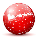Red 3D Sphere with White Starlets and Santa Claus with Reindeer. Sleigh Texture on White Background. Holiday Season - Christmas Greeting Card - Symbol vector illustration