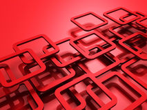 Red 3d Squeres Design Background. 3d render illustration Royalty Free Stock Photo