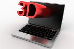 Red 3D Text  Projecting From Laptop Royalty Free Stock Image