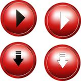 Red 3d Web buttons Stock Photos