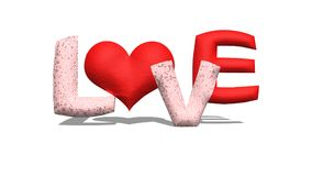 Red 3D wording of `LOVE` for Valentine`s day. Red 3D word `LOVE` Temple fire pot for burning the incense sticks Stock Image