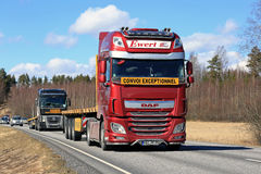Red DAF Semi Truck on Highway at Spring Stock Photos
