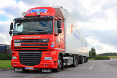Red DAF XF105 Reefer Truck Stock Photo