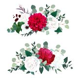 Red dahlia, burgundy peony, white rose, hydrangea, anemone. Ranunculus, mint eucalyptus and greenery vector design horizontal bouquets.Beautiful wedding stock illustration