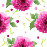 Red Dahlia flower seamless background Stock Image