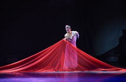 Red damask-Classical folk dance. December 3, 2015,The first colleges and universities' dancing competition of Jiangxi Province, sponsored by Jiangxi dancers stock photo