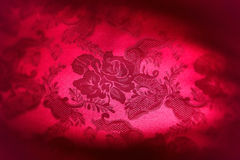 Red Damask Floral Fabric Background Stock Photos