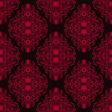 Red  damask seamless Pattern on dark Background. Royalty Free Stock Photos