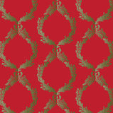 Red -Green Damask Wallpaper Stock Photography