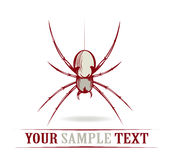 Red danger spider. In cartoon style Royalty Free Stock Images
