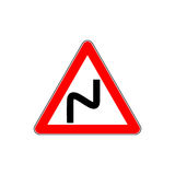 Red Dangerous double-turn sign vector illustration