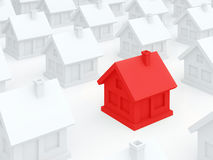 Red dangerous home among ordinary white houses (3D render) Royalty Free Stock Photography