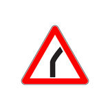 Red Dangerous turn sign Royalty Free Stock Image